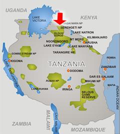 Serengeti Plain On Map Of Africa.Serengeti National Park Tanzania